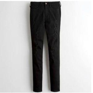 Hollister Super Skinny Black Destroyed Jeans